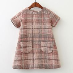 Autumn Girls Clothes O-neck Plaid Pocket Design for Children Clothing 3-7Y Princess Dresses Like if you remember Visit our store