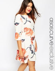 Image 1 ofASOS CURVE Swing Dress In Oversized Floral Print