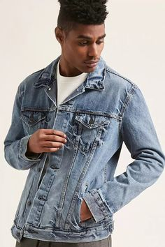 Forever 21 is the authority on fashion & the go-to retailer for the latest trends, styles & the hottest deals. Shop dresses, tops, tees, leggings & more! Denim Button Up, Button Up Shirts, Latest Mens Fashion, Shop Forever, Forever 21, Faux Leather Jackets, Latest Trends, Man Shop, Distressed Denim