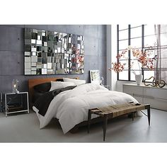 Great way to boost light in the room without having a huge, clear reflection // perspective mirror in mirrors | CB2
