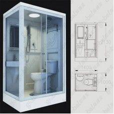 Ceramic Flushing Prefabricated Shower Pod For Bathroom