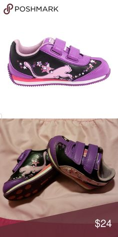 aed621830d97 Baby girl light up Pumas Size toddler 3 excellent used condition purple and  black Puma shoes