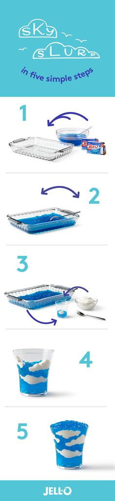 Slurp the sky in 5 easy steps. All it takes is Berry Blue Flavor JELL-O Gelatin, COOL WHIP Whipped Topping and some imagination. Have fun!