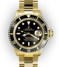 dream watch, vintage men's rolex 18K yellow gold black dial submariner