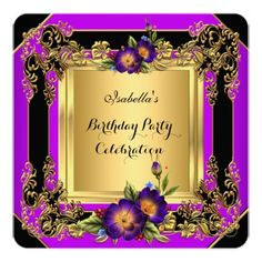 "Elegant Purple Flowers Gold Black Birthday Party 5.25"" Square Invitation Card"