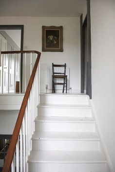 painted stairs- cant decide how to paint wooden rail.