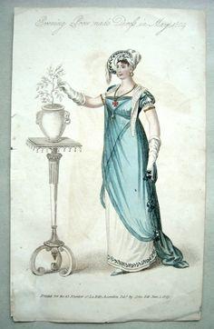 A horticultural interest? 1810 evening promende dress - Belle assemblee