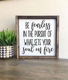 Excited to share the latest addition to my #etsy shop: Be fearless in the pursuit of what sets your soul on fire | framed wood sign #housewares #homedecor #framed #framedsign #walldecor #quotes #gift #woodsigns #woodsign