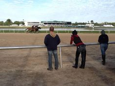 Backstretch observers enjoy the workout action and the brisk springtime air on a morning too perfect to replicate.