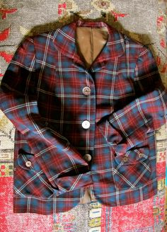 50s Plaid Jacket Town and Country Plaid Blazer Vintage by taffnie