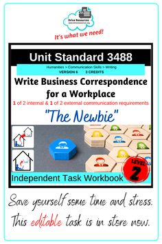 Unit Standard 3488 Write Business Correspondence for a workplace is in store. An editable task workbook, this can be shared digitally or printed as hard copy. Students are scaffolded through to success for 2 of 4 writing pieces required for this standard in a workplace scenario based around a new employee. This is the latest level 2 unit standard in my collection. Unit standards are fantastic for alternative English programmes or your ESL students. Sentence Construction, Literacy Strategies, Business Correspondence, English Language Learners, Home Schooling, Communication Skills, Student Learning, Life Skills, Esl