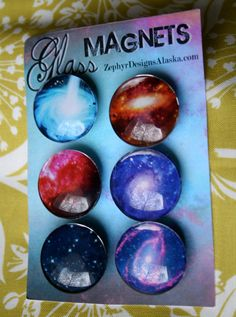 Glass Magnets  Galactic by ZephyrDesignsAlaska on Etsy, $8.00