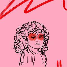 #drawing #outline #child #children #girl #illustration #art #digitalart #color #line #stroke #lisa #pink #red #curlyhair #angry #emotions #hate #feelings