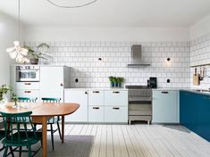 Kitchen in mint and petrol - via cocolapinedesign.com