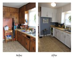 Kitchen Before and After Storm Cloud by Sherwin Williams - paint color