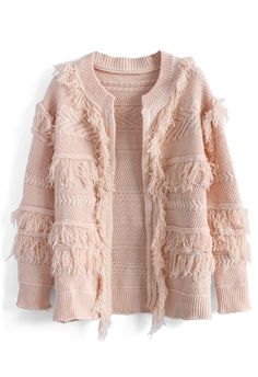 Shaggy Mix Knit Cardigan in Pink - New Arrivals - Retro, Indie and Unique Fashion