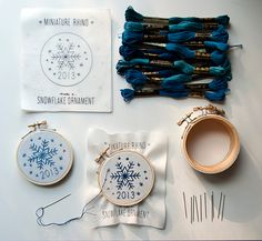 Win a copy of STITCHED GIFTS by @Jess Liu m. // Miniature Rhino, plus a Snowflake Embroidery Kit that includes everything you need to make a special #handmade #holiday keepsake. On the Chronicle Books blog today! #DIY #HappyHolidays