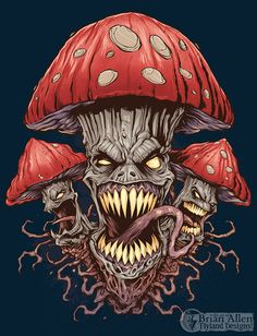 T-Shirt illustration of a pack of wild and evil mushrooms I created for a new apparel brand. I illustrated this in Manga Studio and colored it in Adobe Photoshop. Set up for silk-screening, using four colors.