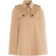 Burberry London Wool Cape (€1.340) ❤ liked on Polyvore featuring outerwear, capes, coats, jackets, camel, camel capes, camel wool cape, cape coat, wool cape coat and burberry