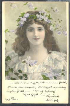 NU044 MM VIENNE Nr271 BEAUTIFUL LADY LILACS in HAIR Fine LITHO