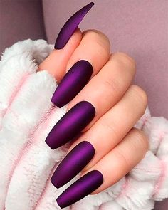 Stunning Long Nail Art Types & Tips for 2019 - Nails Gel Nails - . - Stunning Long Nail Art Types & Tips for 2019 - nails gel nails - # Gelnägel - Dark Purple Nails, Mint Nails, Dark Nails, Purple Nail Art, Purple Chrome Nails, Violet Nails, Matte Nail Art, Gradient Nails, Holographic Nails