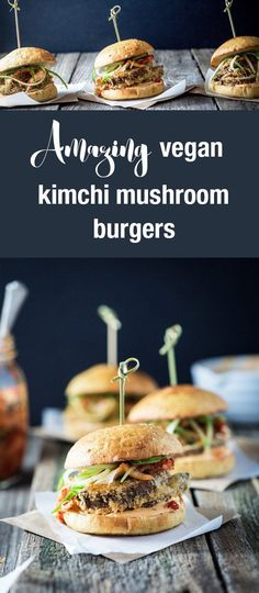 Mushrooms rolled in panko breadcrumbs with kimchi mayonnaise, spicy kimchi and cucumber served on a homemade vegan brioche bun, these vegan kimchi mushroom burgers are a crowd pleaser.