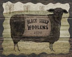 Black Sheep Woolens Original folk art by MarysMontage on Etsy Primitive Kunst, Primitive Sheep, Primitive Painting, Primitive Signs, Primitive Homes, Primitive Crafts, Country Primitive, Primitive Christmas, Wood Crafts