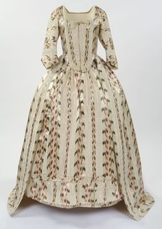 CA 1770-1785 ROBE A L'ANGLAISE OF OFF WHITE SILK AND COTTON WITH GREEN AND PINK STRIPEY FLORAL DESIGN. GLASGOW MUSEUMS