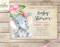 Elephant Baby Shower Invitation, Girl Shower Invitation, Digital File,  PRINTABLE _1302