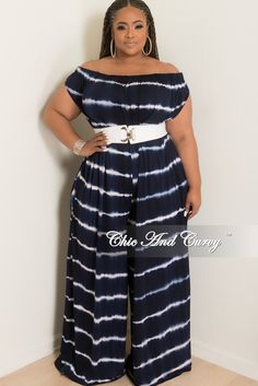 b363d10e2507 Chic And Curvy, Navy And White, Tie Dye, Off The Shoulder, Jumpsuit