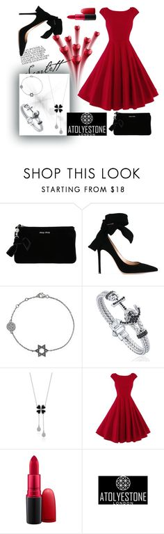 """""""Happy Valentine Day"""" by atolyestone ❤ liked on Polyvore featuring Miu Miu, Gianvito Rossi and MAC Cosmetics"""