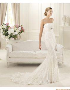 2015 Meerjungfrau Trägerlose Trendige Brautkleider aus Softnetz mit Applikation