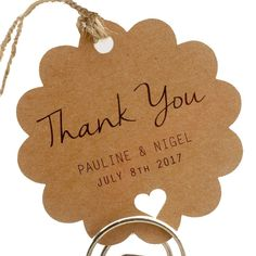 Summer-Ray.com 50 Personalized Mini Kraft Wedding Favor Gift Tags Scallop Tags *** Click image to review more details.