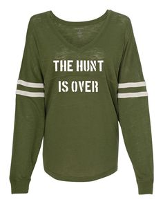 The Hunt is Over Slub Pom Pom Jersey Wedding Party Shirt Bachelorette Party Shirt by TeamBrideDesigns on Etsy