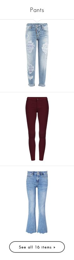 """""""Pants"""" by maydayhailee ❤ liked on Polyvore featuring jeans, pants, bottoms, trousers, blue, blue jeans, boyfriend fit jeans, dsquared2 jeans, destructed jeans and torn jeans"""