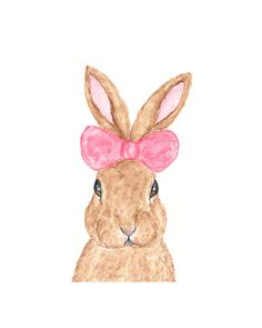 rabbit art watercolor rabbit painting bunny art by ThimbleSparrow, $20.00
