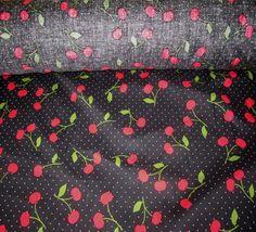 New Black Adorable Cherry Printed Stretch Cotton Fabric | eBay