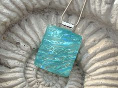 Dichroic Fused Glass Icy Aqua Silver Ripple Necklace