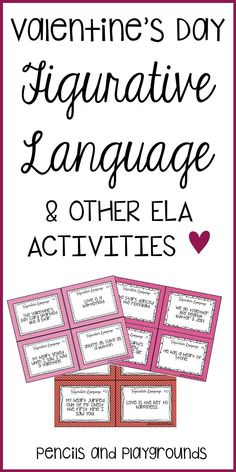 Help your students understand elements of figurative language while tying in Valentine's Day! Each card features a short sentence asking students to identify the type of figurative language. Use these task cards during centers, SCOOT, as an assessment, be