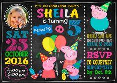 Peppa Pig invitación cumpleaños partido tarjeta por dropsluck