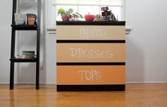 dress up your dresser with color chalkboard paint!