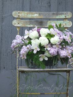the clematis bouquet with lilacs and snowball viburnum Sharon Santoni