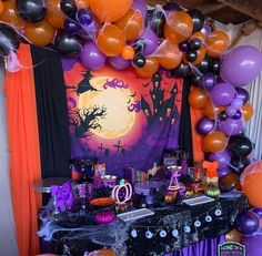 Streamers on table (b & o) with purple tablecloth under. I like the disney head characters as a background with graveatones Halloween 1st Birthdays, Halloween First Birthday, Baby Halloween, Holidays Halloween, Halloween Baby Showers, Halloween 2020, Diy Halloween Decorations, Halloween Themes, Halloween Crafts