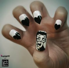 Betty Boop Nail Art by ~KayleighOC on deviantART (not digging the points, but i would still paint the hearts on there)