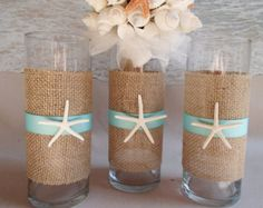 Items similar to Set of 12 beach inspired glass vase centerpieces ...