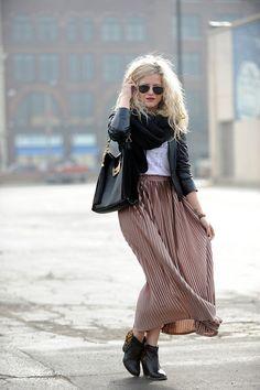 winter maxi skirt look