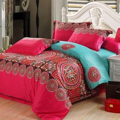 Red and Turquoise Circle Folk Pattern Tribal Print Bohemian Chic Southwestern Style Noble Excellence 100% Egyptian Cotton Bedding Sets
