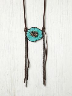 Gypsy Junkies Turquoise And Crystal Necklace http://www.freepeople.com/whats-new/turquoise-and-crystal-necklac/