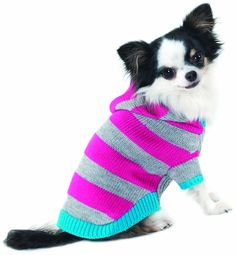 Fashion Pet Lookin Good Collegiate Striped Hoodie Sweater for Dogs, X-Small, Pink >>> You can find more details here : Dog sweaters
