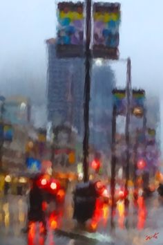 Abstract painting of a Toronto street scene in the rain. The rain-drenched streets reflect bright reds, contrasting the dull grey blue buildings fading into the grey blue sky. This is the Gay Village at Yonge.